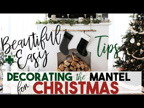 Beautiful + Easy Christmas Decorating Tips for the Fireplace Mantel | Interior Design
