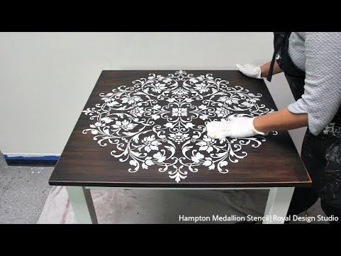 Painted Wood Table Makeover with a Mandala Stencil Design & Annie Sloan Chalk Paint