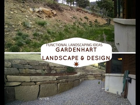 Retaining Wall with Built in Rock seat, flagstone patio for Landscaping ideas in Durango Co