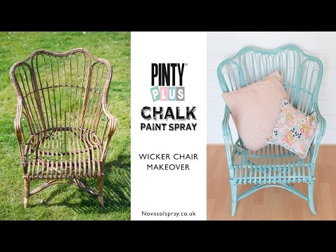 DIY Chalk spray paint makeover of a £5 wicker chair using Pinty Plus spray chalk paint