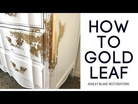 How to Gold Leaf Dresser Makeover