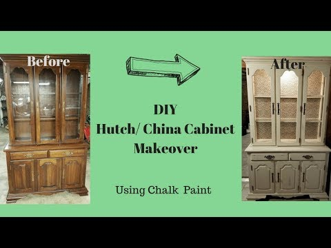 DIY Hutch Transformation/ China Cabinet Makeover Chalk Paint/ Chalk Painting Furniture