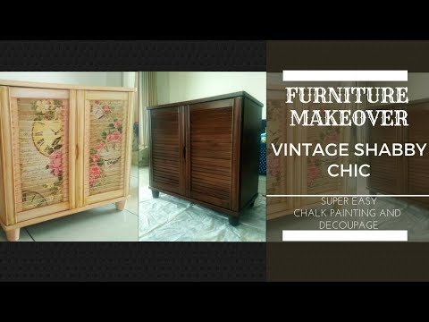 DIY: DECOUPAGE & CHALK PAINT Furniture Makeover- Vintage Shabby Chic [Super Easy and Fast]