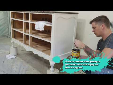 Painted Furniture Provincial Dresser Makeover – DIY – Glazing With Wood Stain