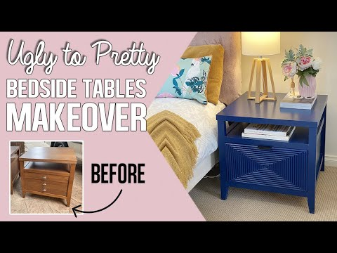 Ugly bedside tables get a navy makeover | Satisfying nightstand upcycle furniture ideas with dowel!