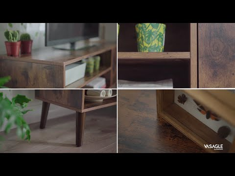 Retro Vintage Wood TV Cabinet, Home Improvement Ideas, Home Furniture, ULTV09BX – VASAGLE