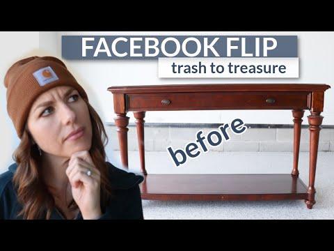 Trash to Treasure Furniture Makeover | Facebook Flip | Entryway Table